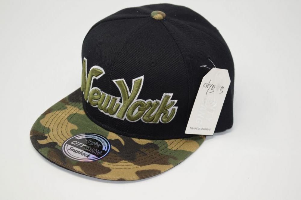 C4874-New York' Black/Camouflage  Snapback Cap one size fits all adjustable 20% cotton, 80% polyster